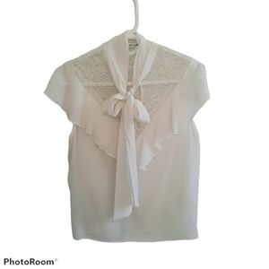 Alice + Olivia Silk Lace Bow Neck Blouse Top M